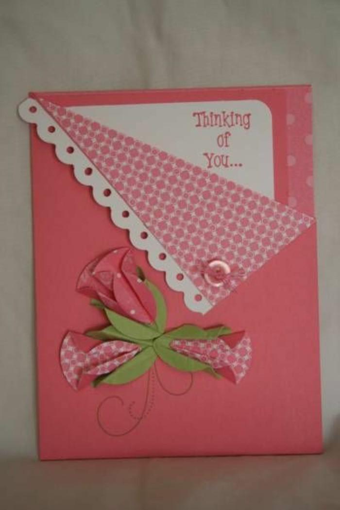 Glückwunschkarten-in-rosa-Farben-mit-grüner-Dekoration