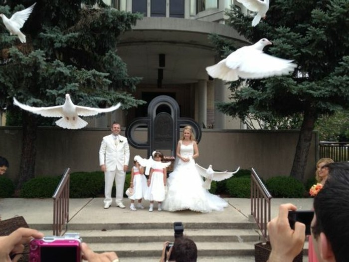 Hochzeit-Tauben-die-kleinen-Mädchen-freuen-sich