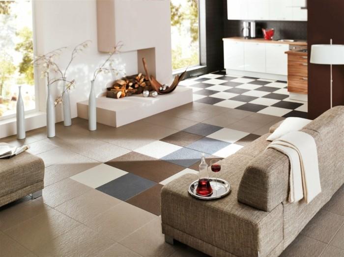 Fliesen im Wohnzimmer – elegante Bodenbeläge - Archzine.net