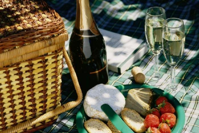 Picknick-im-Grünen-Sekt-und-Obst