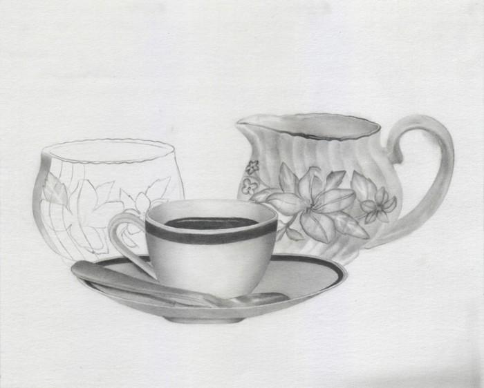 Schöne-Zeichnungen-Bleistift-mit-Teezubehör