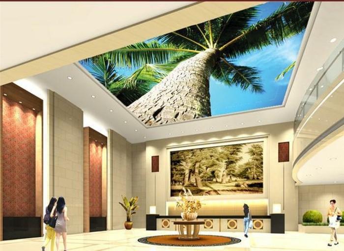 Strand-Fototapete-mit-einer-großen-Palmen