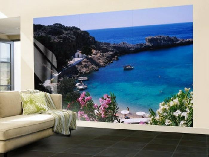 Strand-Fototapete-mit-schwarzen-Klippen