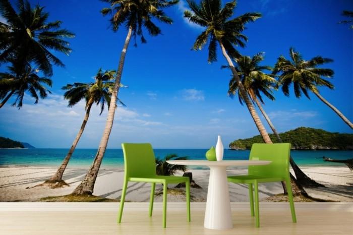Strand-Tapete-Landschaft-mit-Palmen