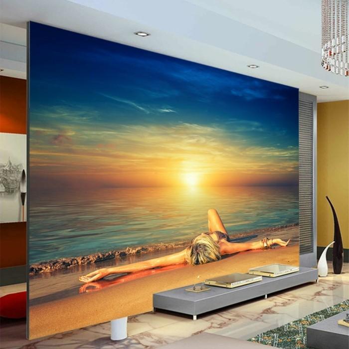 Strand-Tapete-ein-Mädchen-beim-Sonnenaufgang