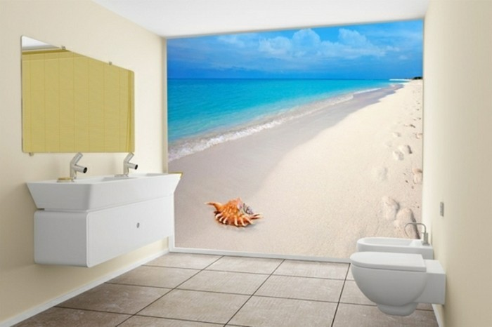 Strand-Tapete-in-der-Toilette