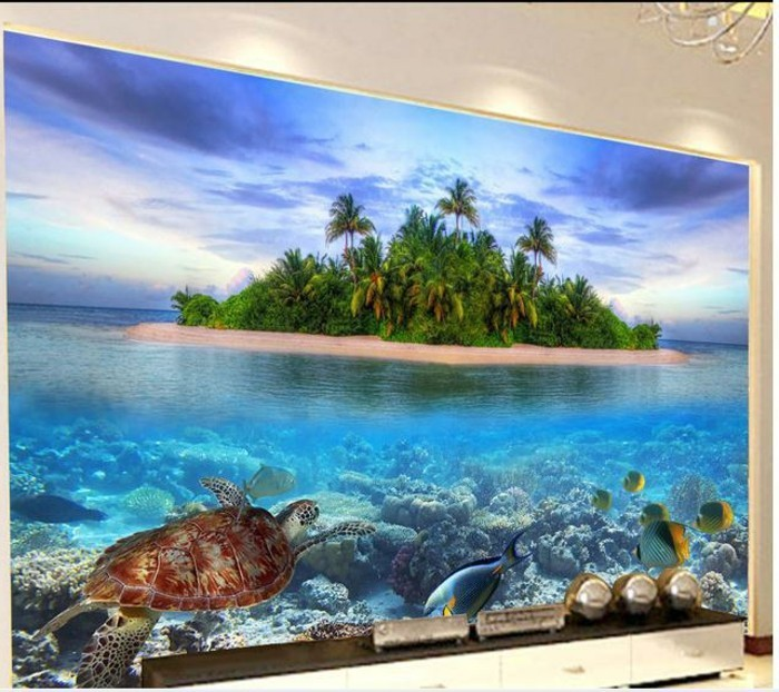Tapete-Strand-mit-großen-Meeresschildkröte