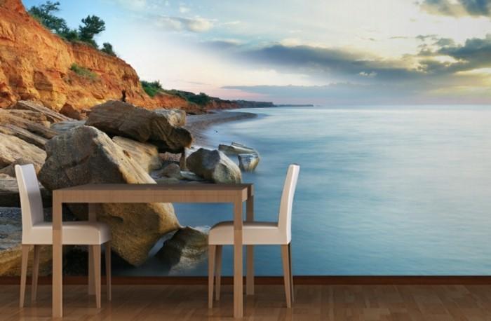 Tapete-Strand-zwei-Stühle-und-Tisch