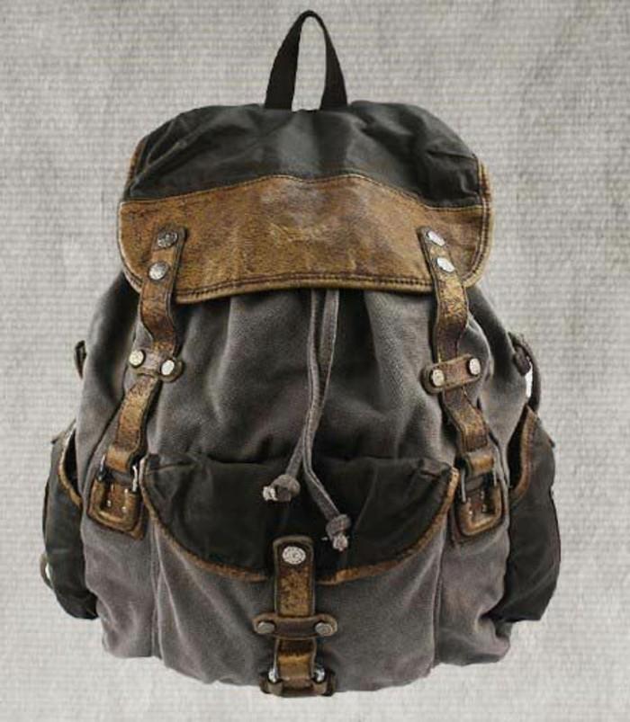 Vintage-Rucksack-in-grauer-Farbe