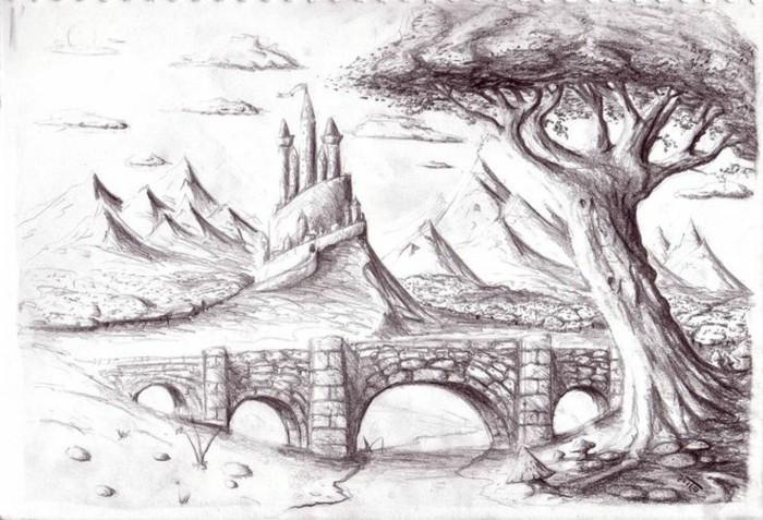 Zeichnen-lernen-mit-Bleistift-eine-Brücke