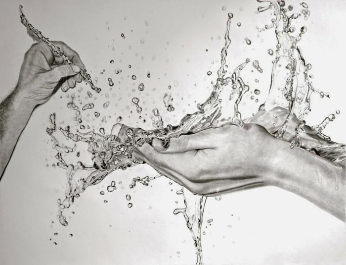 Zeichnungen-mit-Bleistift-Wasser-und-Hände