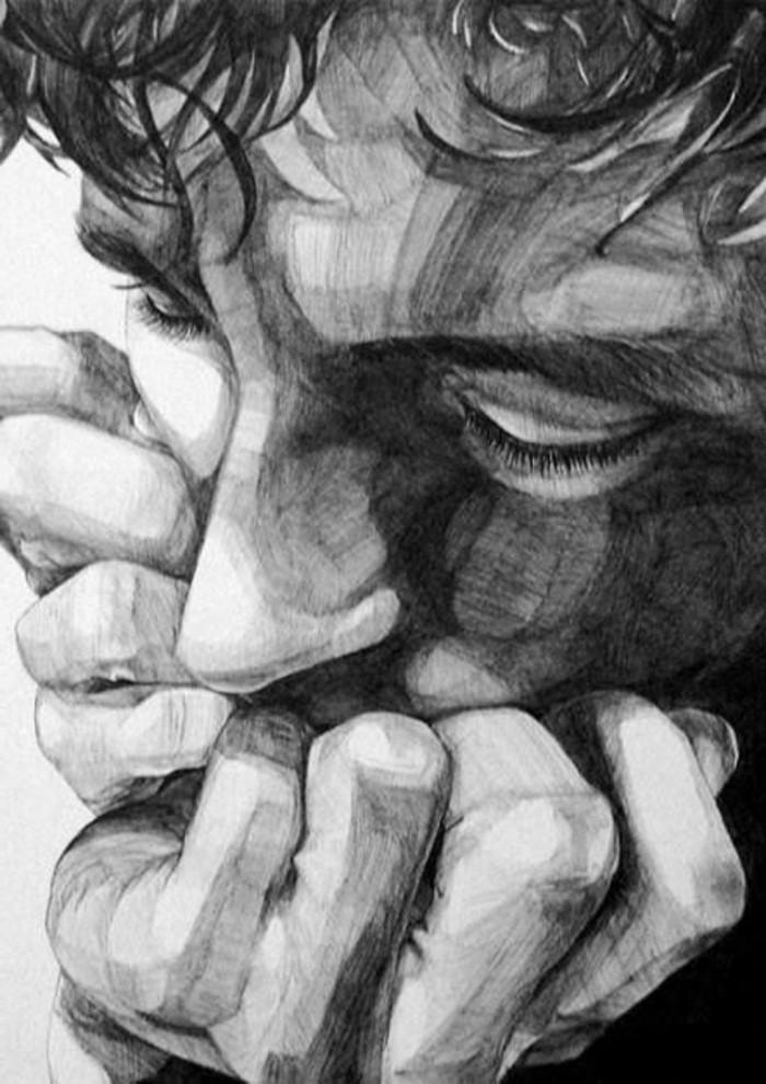 Zeichnungen-mit-Bleistift-ein-Mann