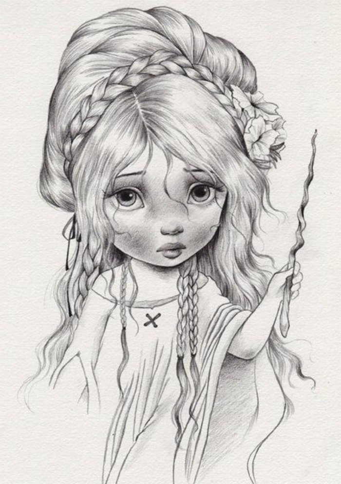 Zeichnungen-mit-Bleistift-eine-Fee