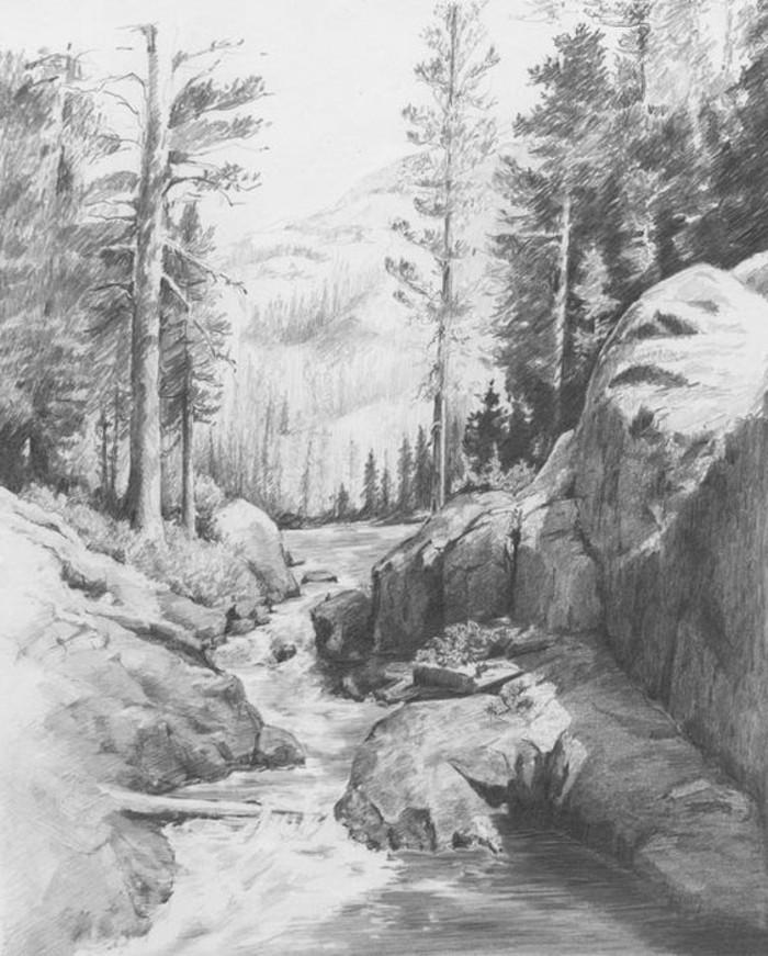 Zeichnungen-mit-Bleistift-eine-Landschaft