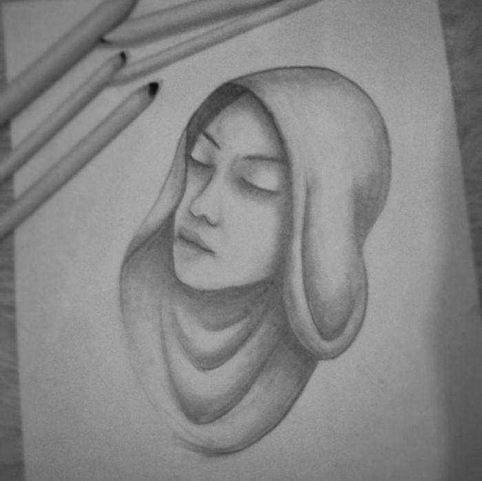 Zeichnungen-mit-Bleistift-eine-Nonne