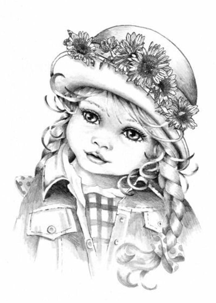 Zeichnungen-mit-Bleistift-eine-Puppe