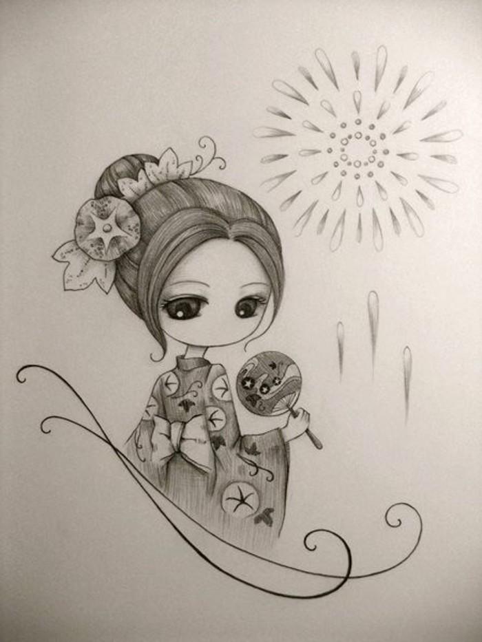 Zeichnungen-mit-Bleistift-eine-japanisches-Mädchen