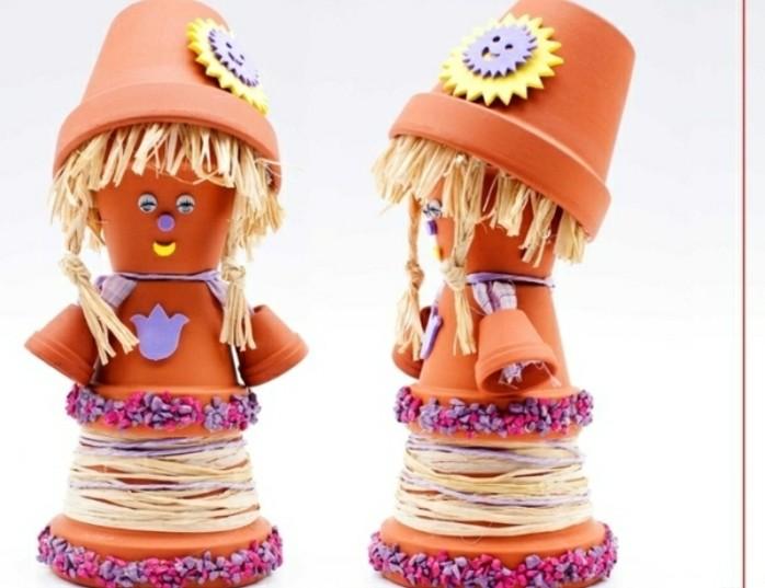 lustige-gartendeko-selber-machen-zwei-süße-figuren-aus-blumentöpfen