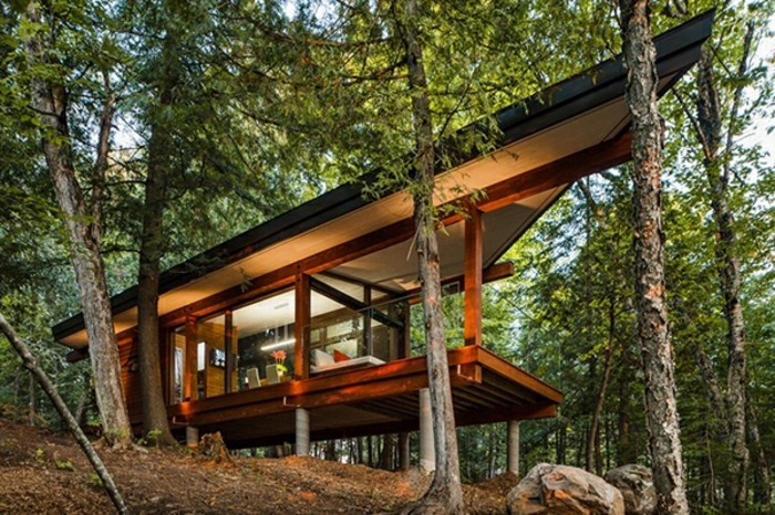 Tolles Panorama Haus Im Wald Gebaut Schöne Naturumgebung