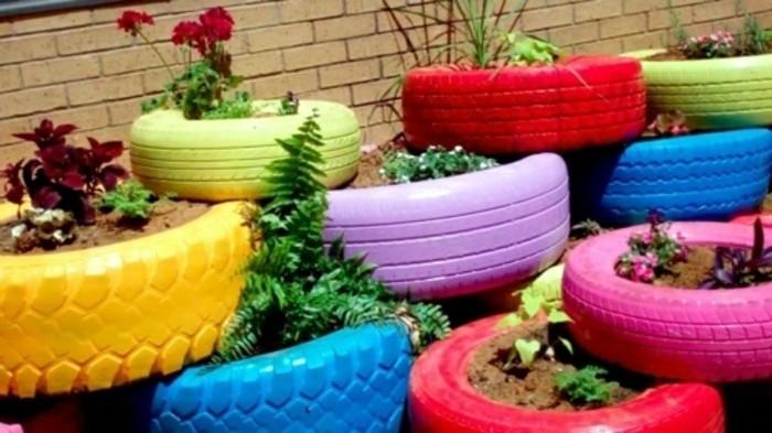 Gartendeko Selber Machen? 50 Lustige Ideen! - Archzine.net Gartendekoration Mit Reifen