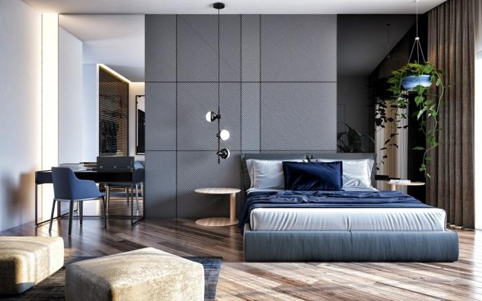 1 schlafzimmer wandgestaltung ideen schlafzimmerdeko in grau und dunkelblau moderne zimmergestaltung schlafzimmergestaltung