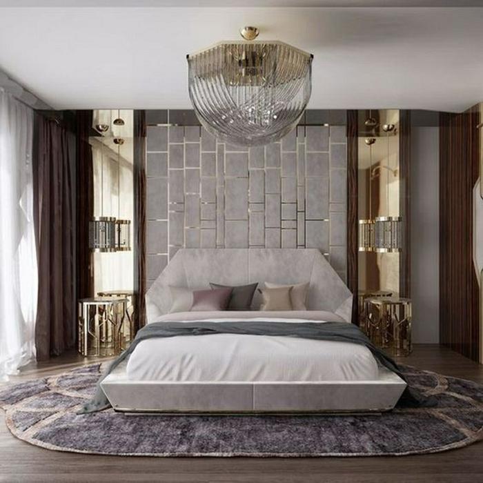 1 schlafzimmer wandgestaltung mit 3d paneel luxuriöse schlafzimmereinrichtung einrichtungsideen schlafzimmerdeko zimmerdeko
