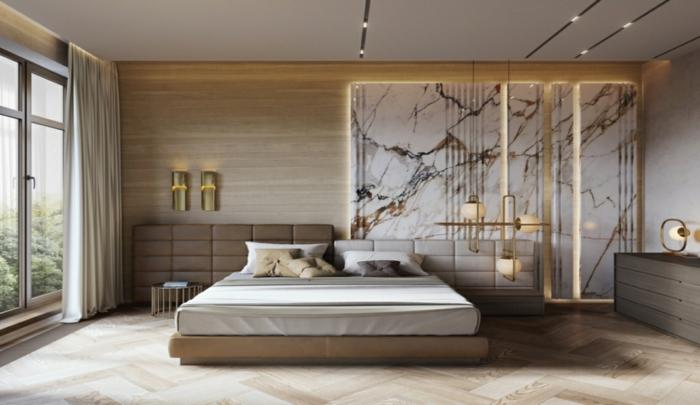1 schlafzimmer wandgestaltung moderne schlafzimmerdeko wand in marmor look schlafzimmerbeleuchtung einrichtung in grau