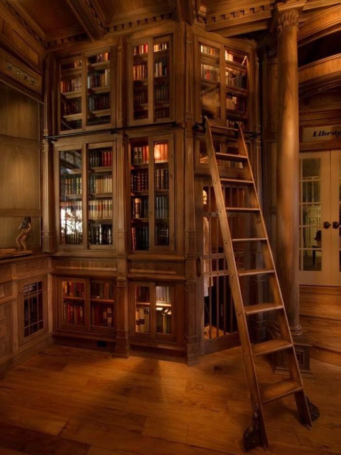 Bücherregal-mit-Leiter-stilvoll-aus-Holz