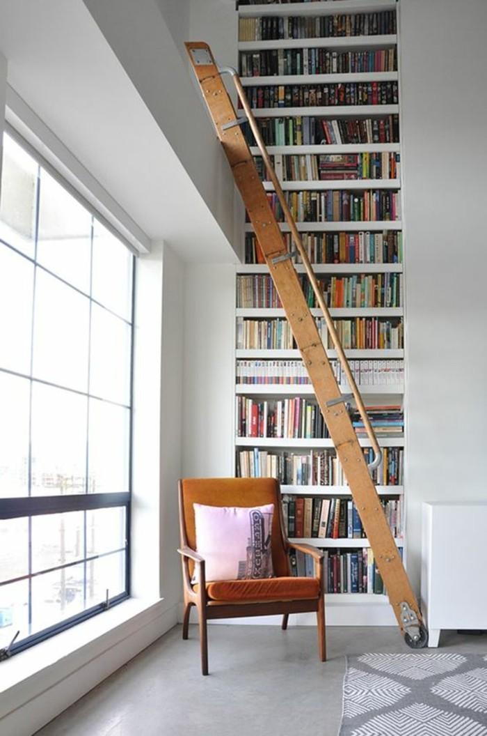 Bücherregal-mit-Leiter-wo-stecke-ich-sonst-alle-Bücher