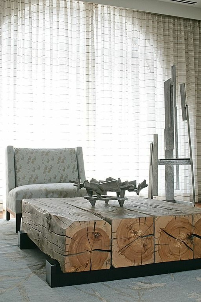 paletten ideen wohnzimmer:baumstämme wohnzimmertisch design ideen massive baumstämme