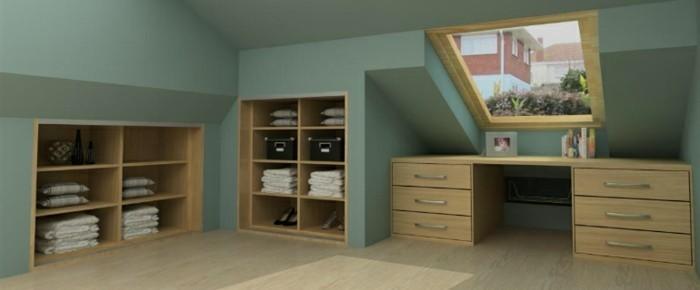 Einbauschrank-für-Dachschräge-freien Raum-optimal-ausnutzen-Einrichtungsideen-Regal