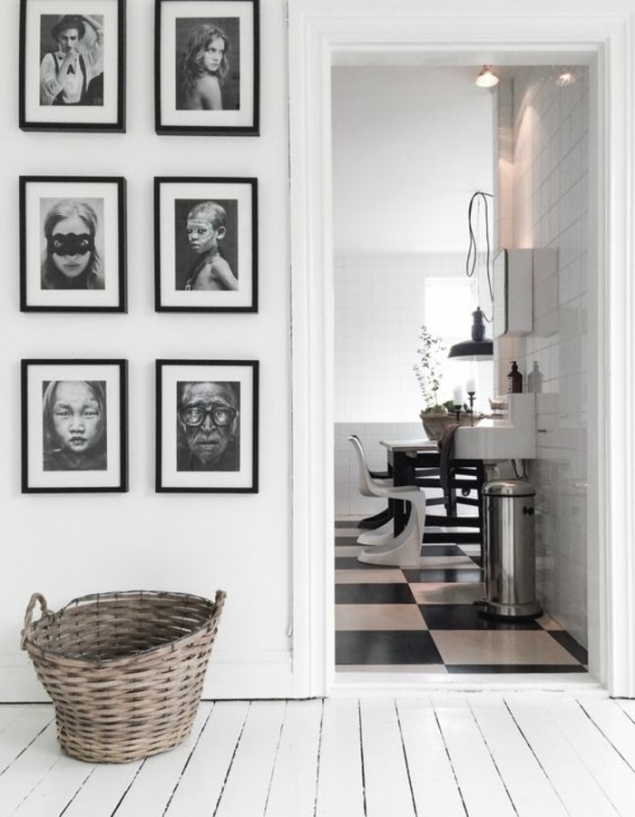 Fotowand-Ideen-bilderrahmen-an-der-wand-schwarz-weiß