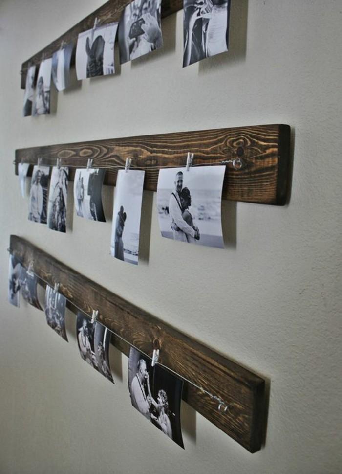 Fotowand-Ideen-fotos-schwarz-weiß-holz-rustikale-elemente
