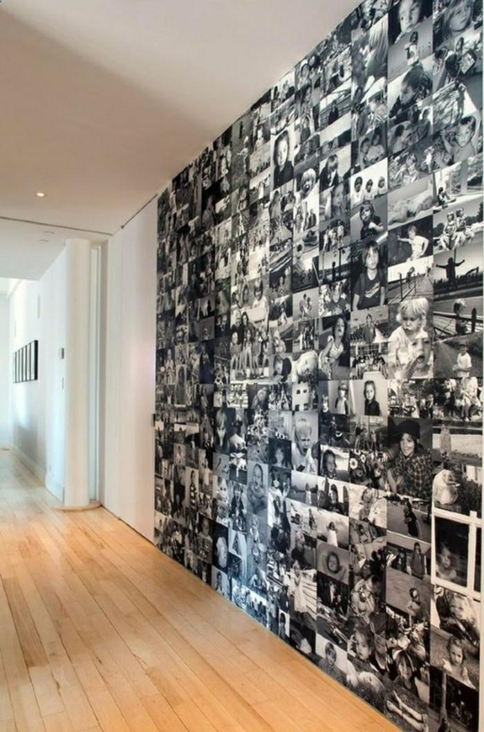 Fotowand-Ideen-schwarz-weiße-fotos-vinylboden