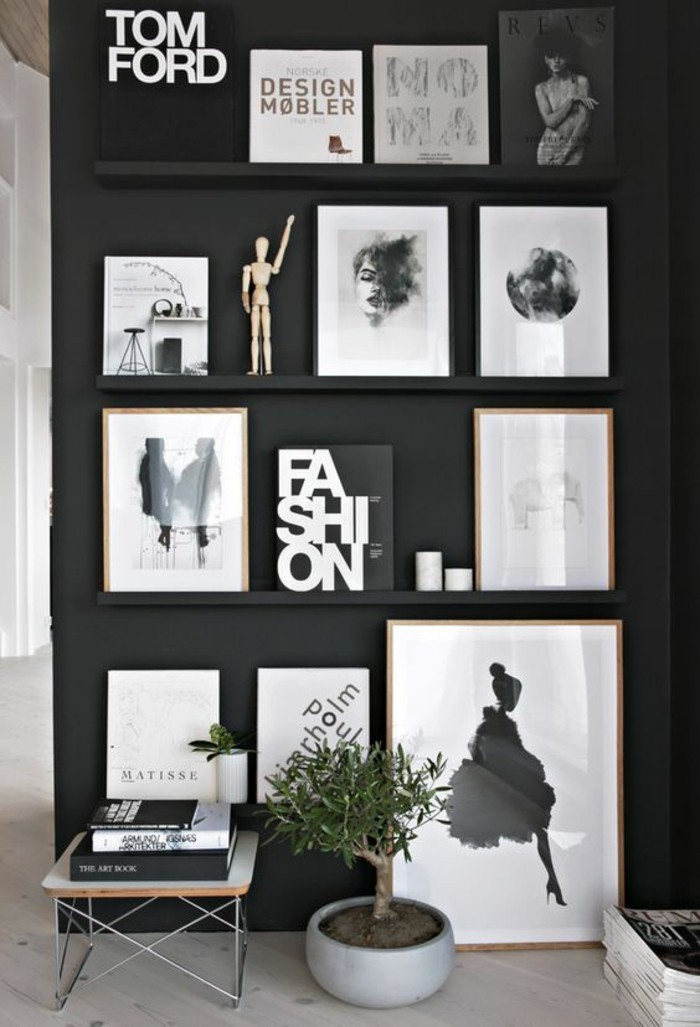 Fotowand-regale-schwarz-weiß