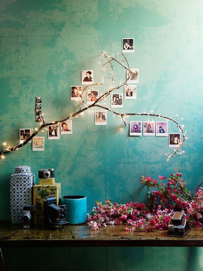 55 ausgefallene bilderwand und fotowand ideen for Polaroid lichterkette