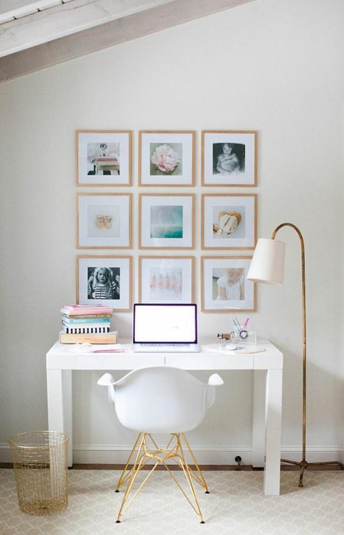 Fotowand-selber-machen-weißer-schreibtisch-und-stehlampe