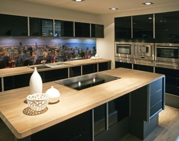 modern trendy design black wooden kitchen - Weie Moderne Kche