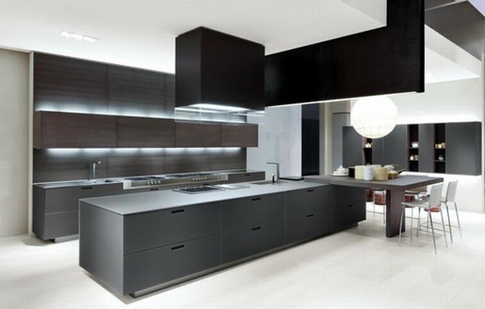 Gestalltungsideen für moderne küche glasrückwand schwarz licht