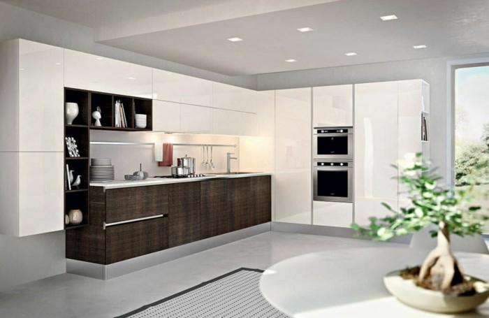 Gestalltungsideen-für-Moderne-Küche-Glasrückwand-weiß-Holz