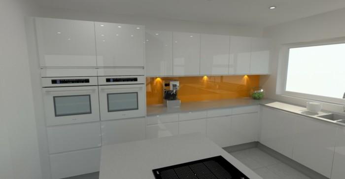 Gestalltungsideen-für-Moderne-Küche-Glasrückwand-weiß-gelb