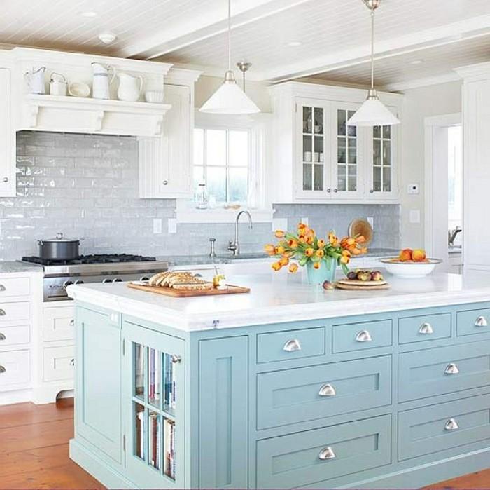 Cuisine bleue et blanche maison design - Cuisine blanche et bleue ...
