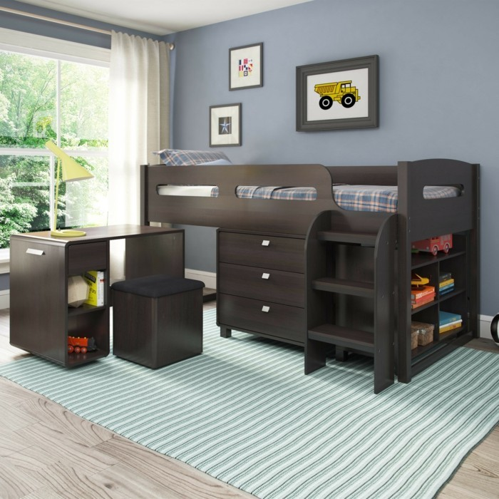 jugendzimmer mit hochbett 90 raumideen f r teenagers. Black Bedroom Furniture Sets. Home Design Ideas