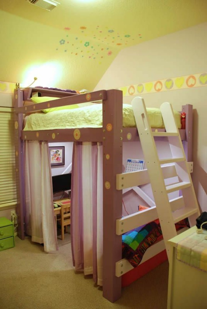 Jugendzimmer mit hochbett 90 raumideen f r teenagers - Hochbett mit vorhang ...