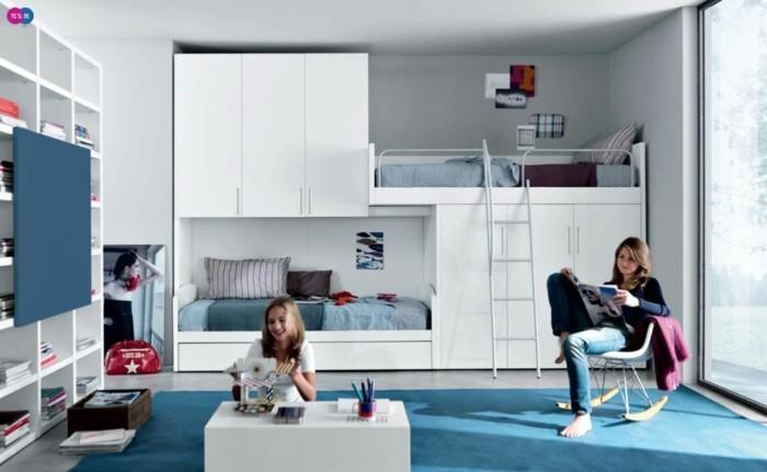 Hochbetten-für-Mädchen-kann-in-blauer-Farbe-sein