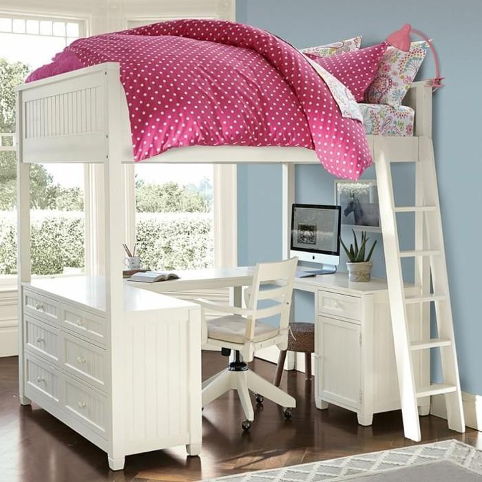 Hochbetten-für-Mädchen-mit-rosa-Bettdecke