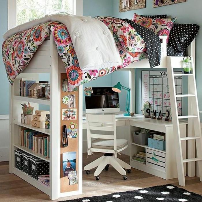 Hochbetten-für-Mädchen-mit-rosa-Bettdecken-in-verschiedenem-Muster