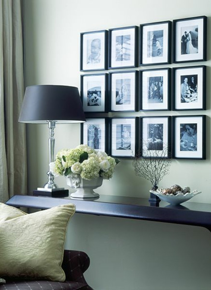 Ideen Fotowand Bilderrahmen Lampe Wohnzimmer Gestaltung