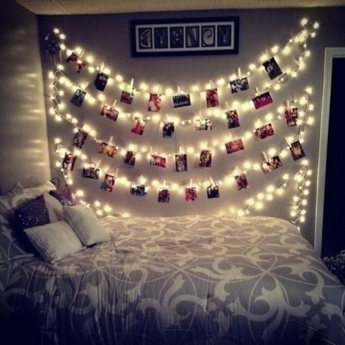 ideen fotowand kette beleuchtung ideen fr das schlafzimmer - Schlafzimmer Mit Ikea Ei