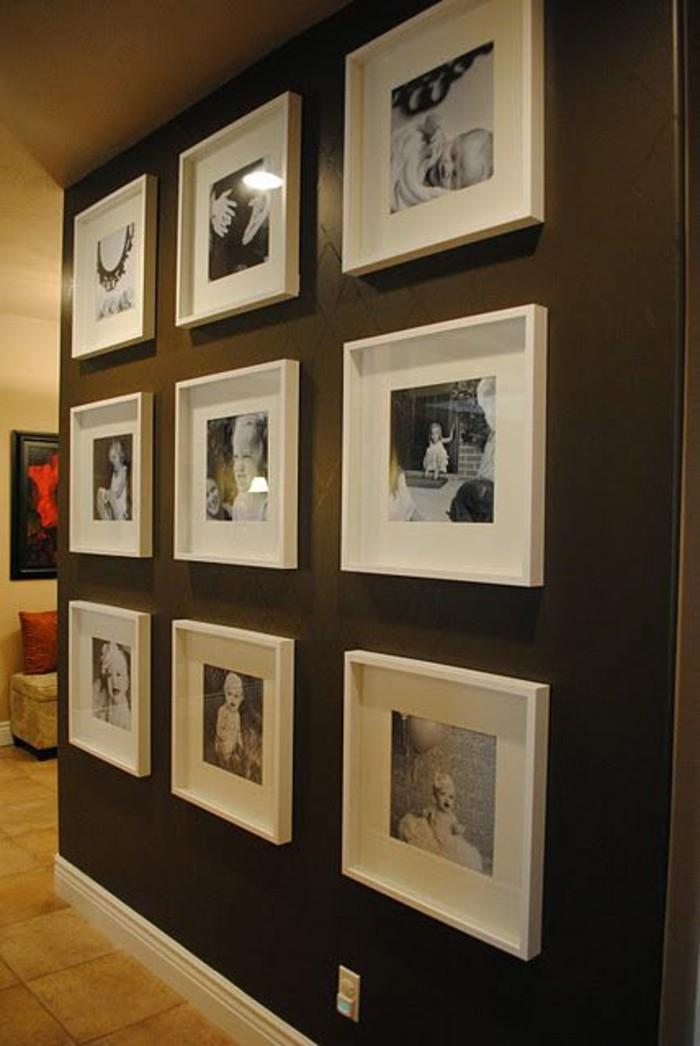 Ideen-für-Fotowand-braune-farbe-weiße-bilderrahmen